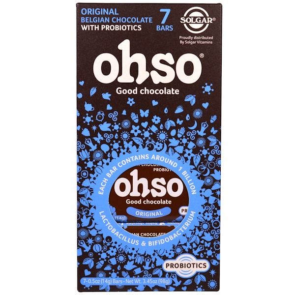 Solgar, Ohso, Daily Probiotic Belgian Chocolate, Original, 7 Bars, 0.5 oz (14 g) Each (Discontinued Item)