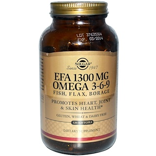 Solgar, EFA, Omega 3-6-9, 1300 mg, 120 Softgels