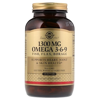 Solgar, Omega 3-6-9, 1300 mg, 120 Softgels