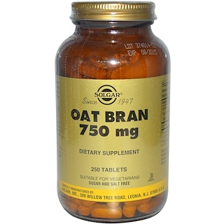 Solgar, Oat Bran, 750 mg, 250 Tablets