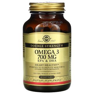 Solgar, Omega-3, EPA & DHA, Double Strength, 700 mg, 60 Softgels