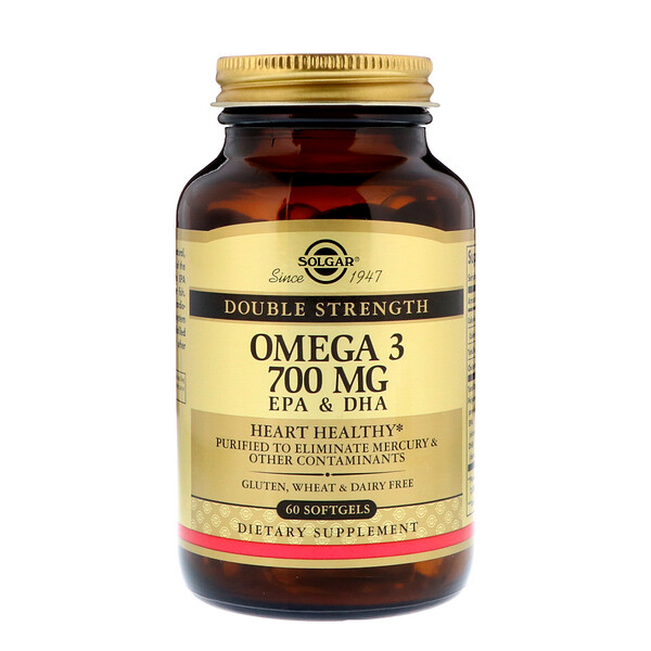 Solgar, Omega-3, EPA & DHA, Double Strength, 700 mg, 60 Softgels