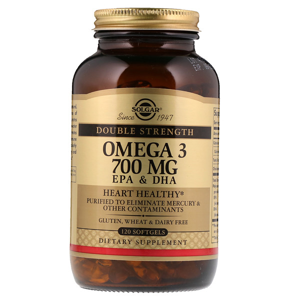Solgar, Omega-3, EPA & DHA, Double Strength, 700 mg, 120 Softgels