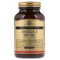 Омега-3, ЭПК и ДГК, тройная сила, 950 мг, 50 мягких таблеток - фото