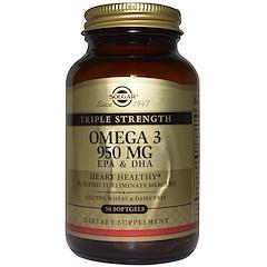 Solgar, Triple Strength Omega-3, 950 mg, EPA & DHA, 50 Softgels
