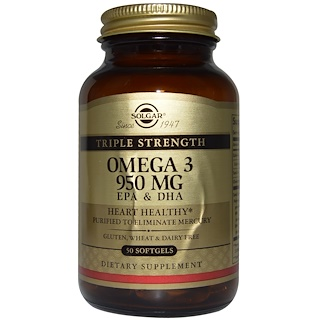 Solgar, Triple Strength Omega-3, 950 mg, EPA & DHA, 50 Softgels