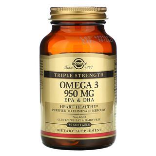 Solgar, Oméga-3, EPA et DHA, Triple concentration, 950mg, 50capsules à enveloppe molle