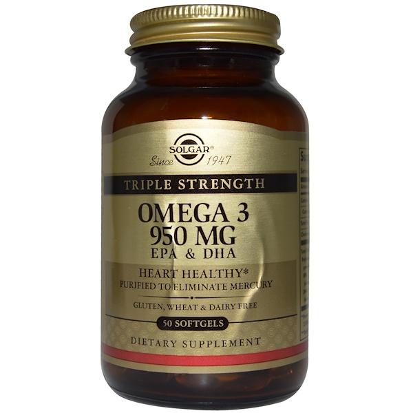 保健品EFA,歐米茄3 6 9(EPA DHA)Omega-369 膠囊片:Solgar, 三倍強度歐米伽-3,950毫克,EPA和DHA,50粒軟膠囊