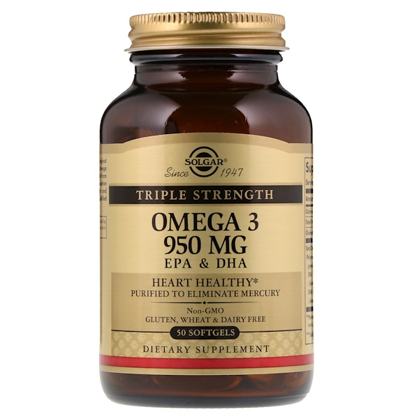 Solgar, Omega-3, EPA & DHA, Triple Strength, 950 mg, 50 Softgels