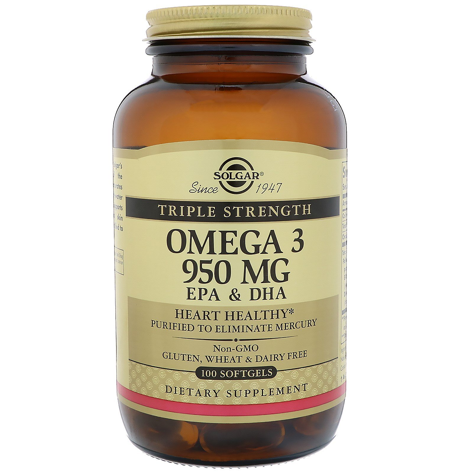 solgar omega 3 epa dha triple strength 950 mg 100 softgels. Black Bedroom Furniture Sets. Home Design Ideas