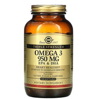 Solgar, Oméga-3, EPA et DHA, Triple concentration, 950mg, 100capsules à enveloppe molle