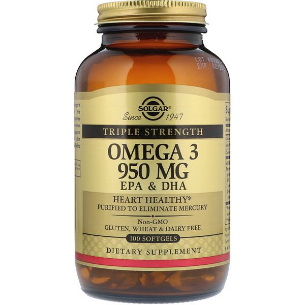Solgar, Omega-3 EPA & DHA, Triple Strength, 950 mg, 100 Softgels