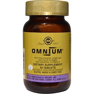 Solgar, オムニウム, 植物栄養素複合体 マルチプルビタミン&ミネラルフォーミュラ, 60錠