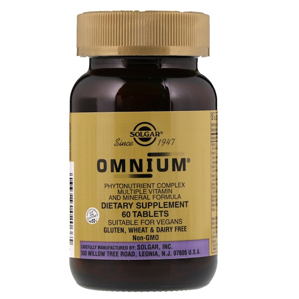 Solgar, Omnium, Phytonutrient Complex, Multiple Vitamin and Mineral Formula, 60 Tablets