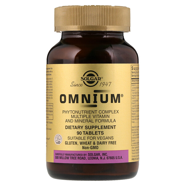Solgar, Omnium, Phytonutrient Complex, Multiple Vitamin and Mineral Formula, 90 Tablets