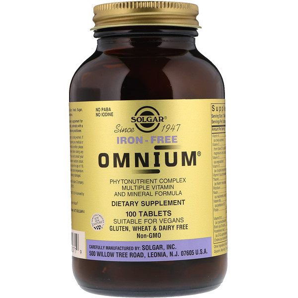 Solgar, Omnium, Multiple Vitamin and Mineral Formula, Iron-Free, 100 Tablets (Discontinued Item)