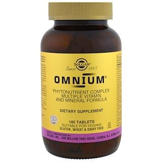 Solgar, オムニウム, フィトニュートリエント-リッチ マルチプル ビタミン アンド ミネラル フォーミュラ, 180 タブレット