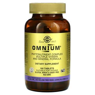 Solgar, Omnium, complejo de fitonutrientes, vitamina múltiple y fórmula mineral, 180 comprimidos