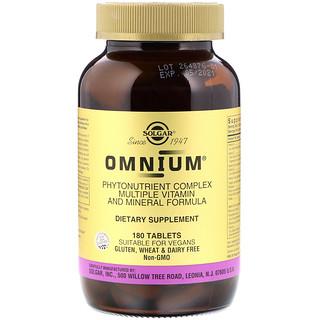 Solgar, Omnium, Phytonutrient Complex, Multiple Vitamin and Mineral Formula, 180 Tablets