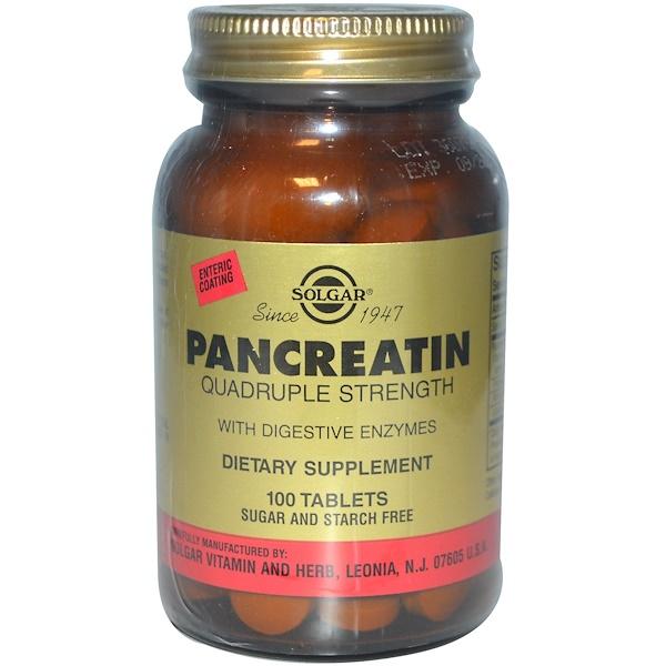 Solgar, Панкреатин, учетверенная сила, 100  таблеток (Discontinued Item)