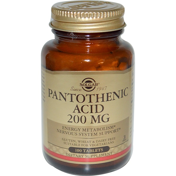 Solgar, Pantothenic Acid, 200mg, 100 Tablets (Discontinued Item)