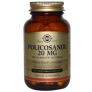 Solgar, Policosanol, 20 mg, 100 Vegetable Capsules