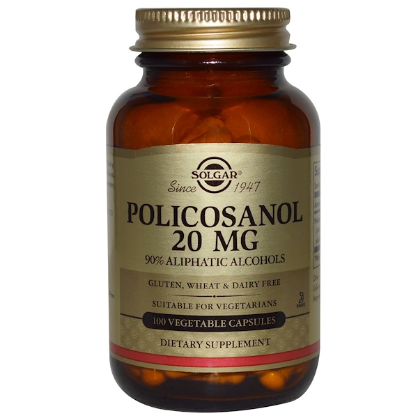 Solgar, Policosanol, 20 mg, 100 Vegetable Capsules