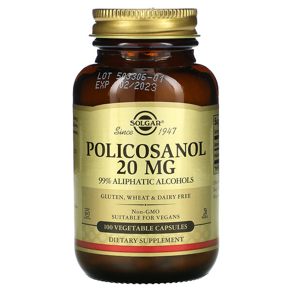 Policosanol, 20 mg, 100 Vegetable Capsules