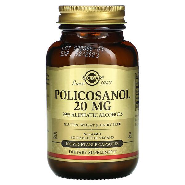 Solgar, поликосанол, 20мг, 100вегетарианских капсул