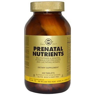 Solgar, Prenatal Nutrients, Multivitamin & Mineral, 240 Tablets