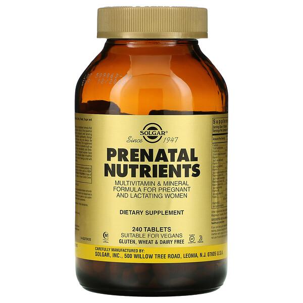 Solgar, مغذيات ما قبل الولادة، فيتامينات ومعادن، 240 قرص