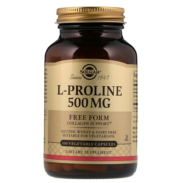 Solgar, L-Proline, 500 mg, 100 Vegetable Capsules