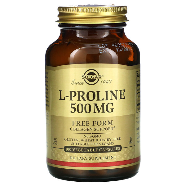 L-Proline, 500 mg, 100 Vegetable Capsules