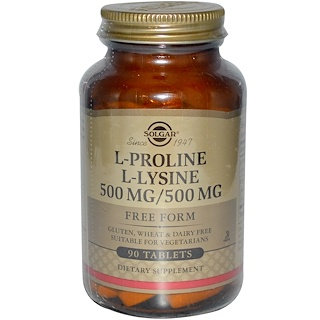 Solgar, L-プロリン/L-ライシン、フリーフォーム、500mg/500 mg、90錠