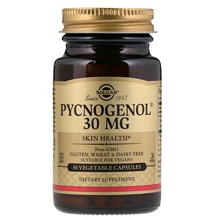 Solgar, Pycnogenol, 30 mg, 30 Cápsulas Vegetais