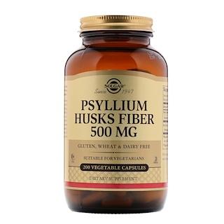 Solgar, Fibra Psyllium Husks, 500 mg, 200 cápsulas vegetales