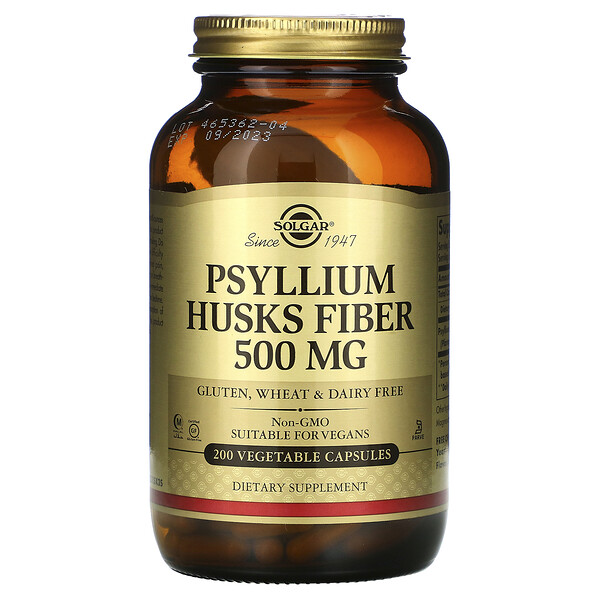 Psyllium Husks Fiber, 500 mg, 200 Vegetable Capsules