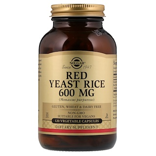 Solgar, Red Yeast Rice, 600 mg, 120 Vegetable Capsules
