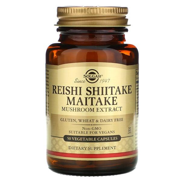 Reishi Shiitake Maitake Mushroom Extract, 50 Vegetable Capsules