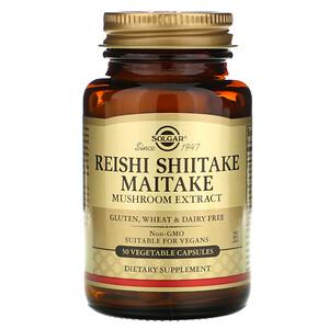 Солгар, Reishi Shiitake Maitake Mushroom Extract, 50 Vegetable Capsules отзывы покупателей