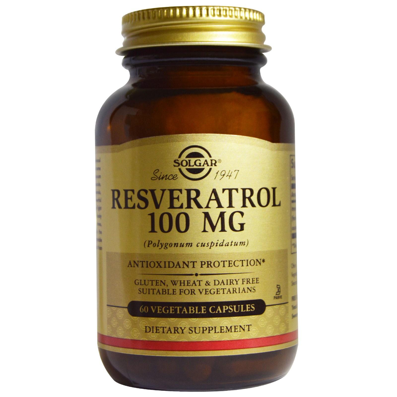 Solgar, Ресвератрол, 100 мг, 60 вегетарианских капсул