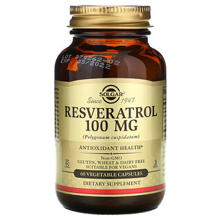 Solgar, Resveratrol, 100 mg, 60 Vegetable Capsules