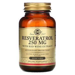 Солгар, Resveratrol, 250 mg, 30 Softgels отзывы покупателей