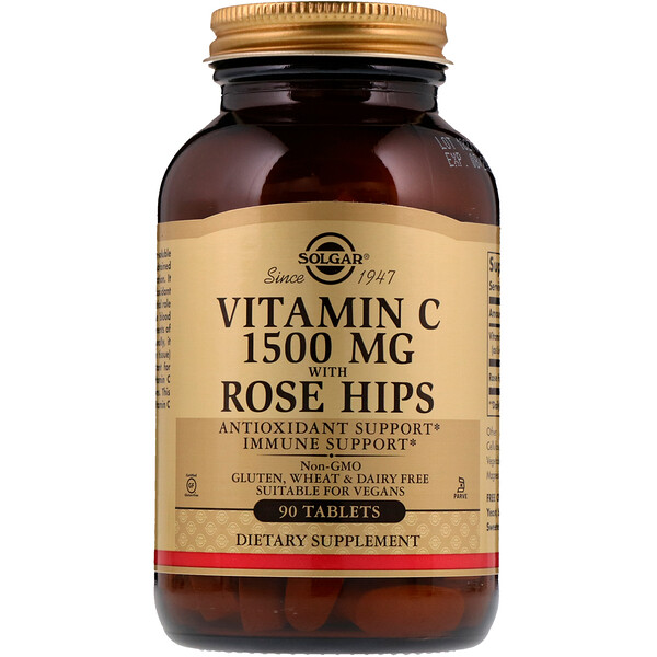 Vitamin C with Rose Hips, 1,500 mg, 90 Tablets