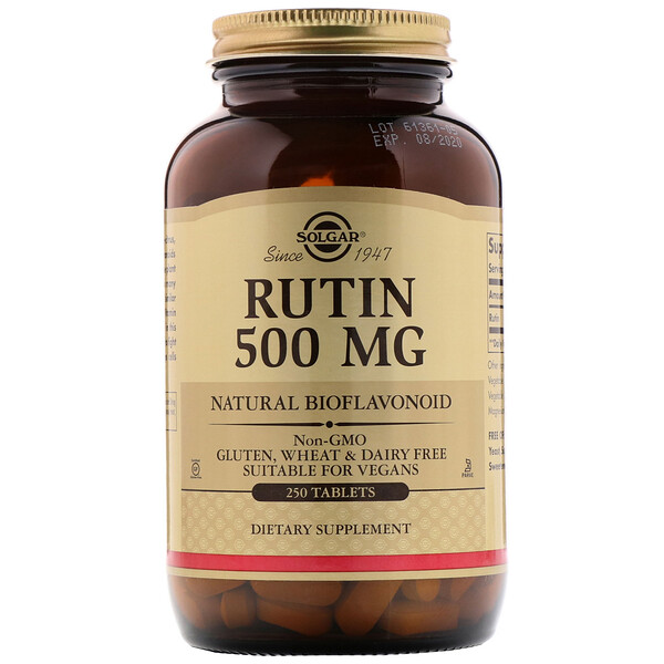 Solgar, Rutin, 500 mg, 250 Tabletten