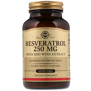 Solgar, Resveratrol, 250 mg, 60 Softgels