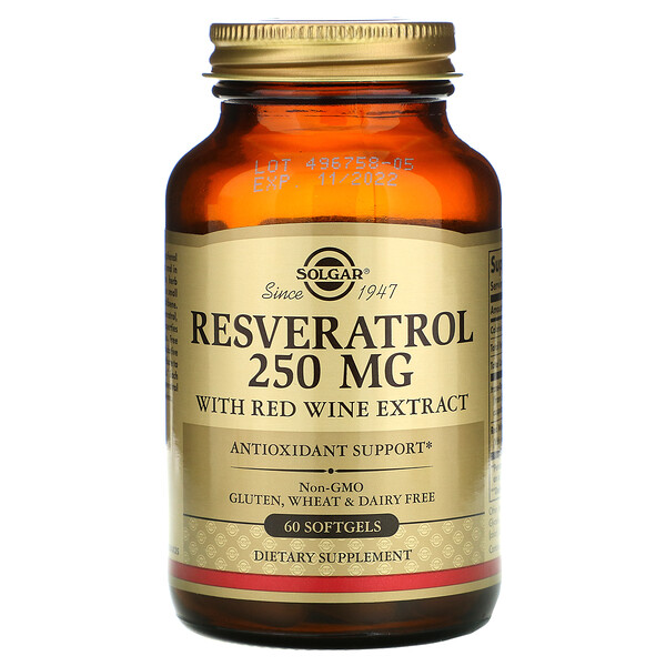 Resveratrol, 250 mg, 60 Cápsulas Softgel