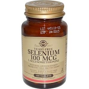 Solgar, Селен, Бездрожжевой 100 таблеток