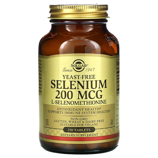 셀레늄, 효모 없음, 200 mcg, 250 정