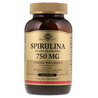 Solgar, Spirulina, 750 mg, 250 Tablets